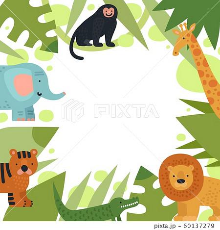Jungle frame. Tropical leaves border with cartoon safari animals elephant, tiger and lion, crocodile and giraffe, monkey vector template 60137279
