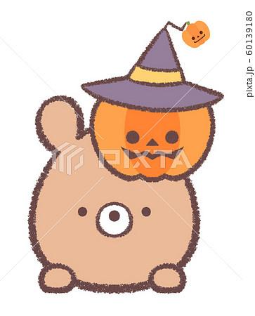 クマ10月ハロウィン-カボチャと帽子 60139180