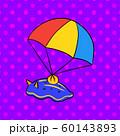 パラシュートで降りてくるウミウシさんのイラスト(ポップ・ドット柄・落下傘・キャラクター) 60143893