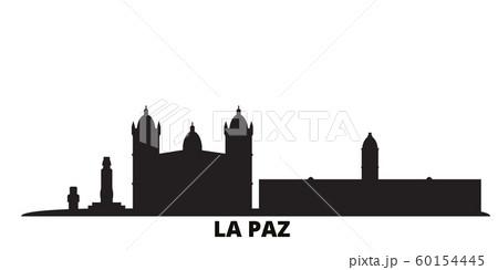 Bolivia , La Paz city skyline isolated vector illustration. Bolivia , La Paz travel black cityscape 60154445