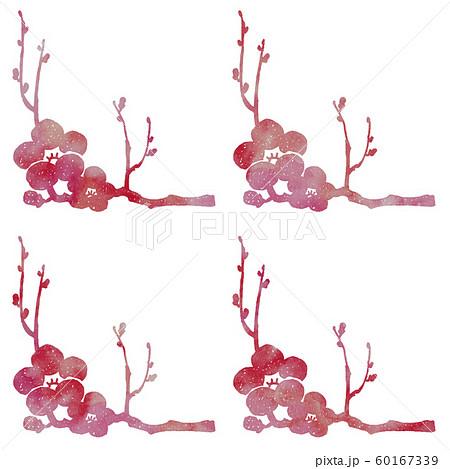 梅の枝と花シルエット模様 60167339