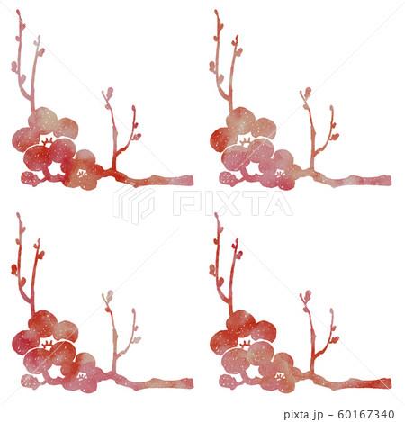 梅の枝と花シルエット模様 60167340