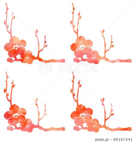 梅の枝と花シルエット模様 60167341