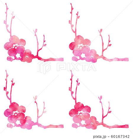 梅の枝と花シルエット模様 60167342