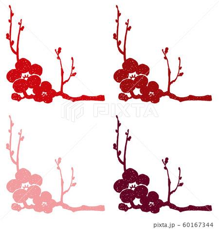 梅の枝と花シルエット模様 60167344
