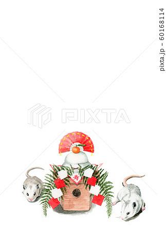 水彩で描いたねずみと鏡餅のイラストの年賀状 60168114