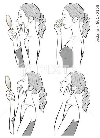 スキンケアをしている女性のイラスト 60170168