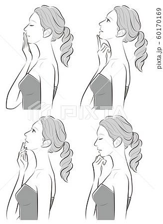 女性の横顔の表情イラスト 60170169