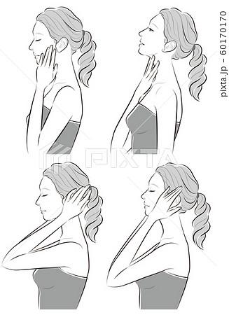 女性の横顔の表情イラスト 60170170
