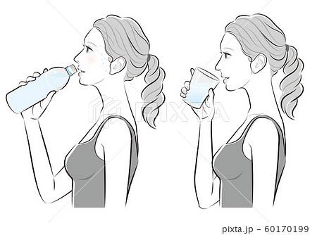 女性の横顔, 熱中症対策 60170199