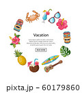 Vector cartoon summer travel elements in circle shape with place for text illustration 60179860