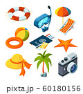 Summer travel isometric. Vector pictures of set 60180156