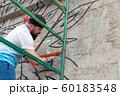 Graffiti artist painting with aerosol spray bottle 60183548