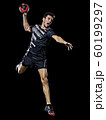 caucasian young handball player man isolated black background 60199297