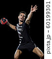 caucasian young handball player man isolated black background 60199301