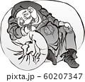 浮世絵 福の神 その3 白黒 60207347