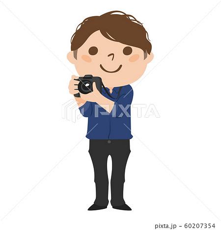 職業のイラスト。男性のカメラマン。笑顔で写真を撮っている男性。 60207354