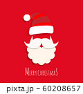 vector cute Santa Claus cartoon with text Merry Christmas on red background for Christmas wallpaper background 60208657