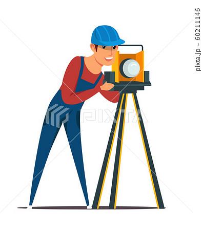 Construction surveyor flat vector illustration 60211146