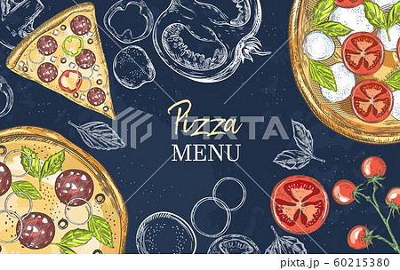 Horizontal banner with pizza and pizza ingredients. Basil, champignons, tomatoes, mozzarella, onions, paprika. 60215380