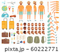 Tourist constructor. Male character body parts suitcase tickets and other items for travelling vector creation kit collection 60222771
