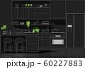Interior design with modern kitchen in white line sketch on black background 60227883