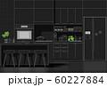 Interior design with modern kitchen in white line sketch on black background 60227884