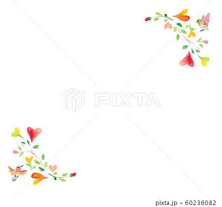 ハート 小鳥 背景 イラスト フレーム かわいい 葉っぱ 60236082