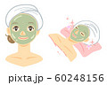 オリーブ色のフェイスパック(海藻パック・泥パック・緑茶パック) 60248156