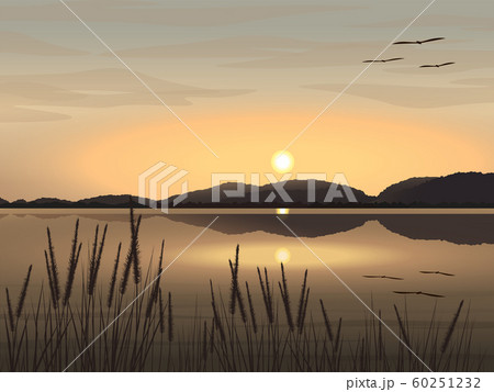 Vector illustration Beautiful natural landscape image of lake, mountains, evening sky The sun is setting, grass and birds flying.  60251232