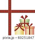 赤いチェックのリボンとプレゼントボックス 60251847