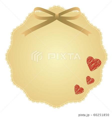 ゴールドのリボンとハートの飾り 60251850