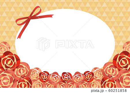 赤いリボンとバラの花のバレンタインフレーム 60251858