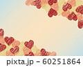 赤とピンクとゴールドのハートと水色とピンクのグラデーションの背景フレーム 60251864