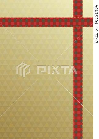赤いチェック柄のリボンと金色のグラデーションの背景のカード 60251866