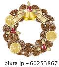 クリスマスリース 白背景 60253867