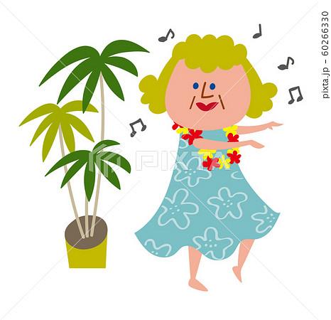 フラダンスを楽しむおばあちゃん 60266330