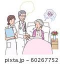 不安なシニア女性と医者と看護師 60267752