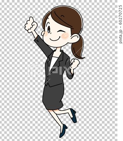 정장을 입고 점프하는 젊은 여성 60270725