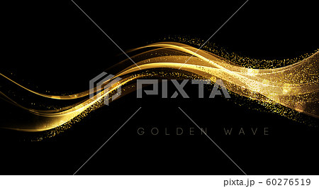 Abstract shiny color gold wave design element 60276519