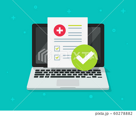 Medical prescription digital document or online test results report on laptop computer screen vector, pc with online healthy electronic check list from, concept of on-line internet medicine image 60278882