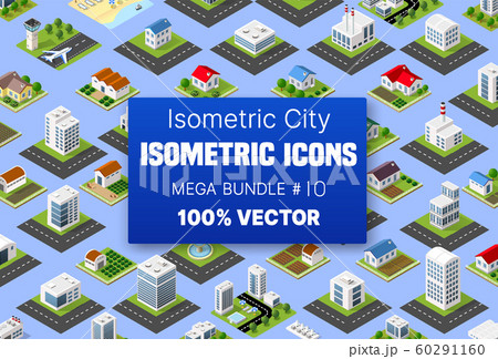 Isometric set building houses icons of blocks module 60291160