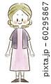 シニア女性-笑顔-全身-水彩 60295867