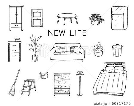 生活 インテリア 家具 ペン画 セット 60317179