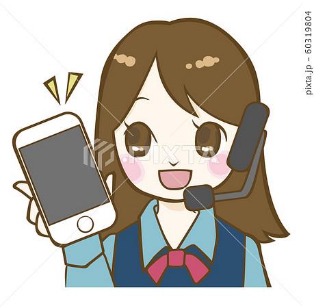 スマートフォンを持ったコールセンターの女性 60319804