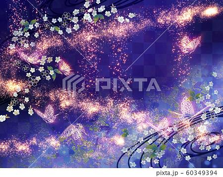 和風 蝶々 キラキラ 背景 紫 60349394