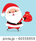Christmas Greeting Card with Santa Claus, vector illustration. 60356959