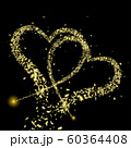Gold pieces of foil fly in the shape of two hearts 60364408