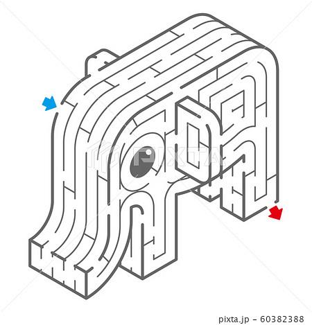 ゾウのアイソメトリック迷路(塗り絵) 60382388