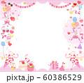 かわいいパーティー背景フレーム/赤・ピンク 60386529